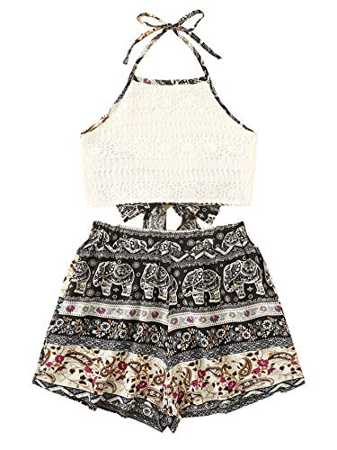 (MAKEMECHIC Women's 2 Piece Outfit Summer Elephant Print Lace Crop Halter Top with Shorts Lace-mutil2 Small)