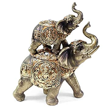 Feng Shui Up and Down 2 Elephant Wealth Lucky Figurine Home Decor Housewarming Gift US Seller