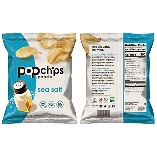 Popchips Potato Chips Variety Pack, Single Serve 0.8 Ounce Bags (Pack of 30), 3 Flavors: 12 Sea Salt, 12 BBQ, 6 Sour Cream & Onion