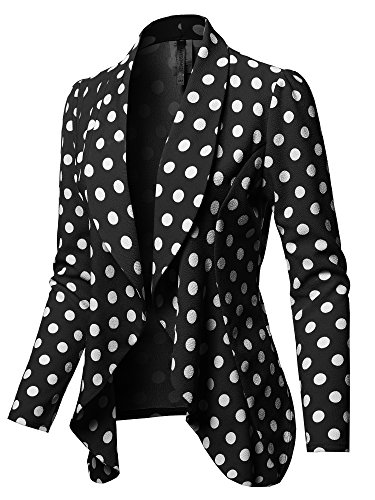 Formal Office Open Front Long Sleeves Blazer - Made in USA Black White Polka M