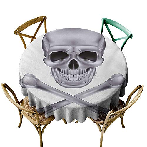 Wendell Joshua Party Tablecloth 70 inch Grey,Vivid Skull and Crossed Bones Dangerous Scary Dead Skeleton Evil Face Halloween Theme,Dimgray Great for Buffet Table, Parties, Holiday Dinner & -