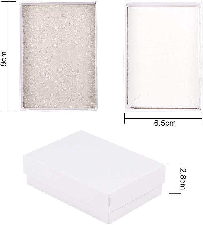 nbeads 6 Pcs en Carton Blanc Bijoux Colliers Boucles doreilles Bague Cadeau Bo/îtes avec Couvercle 90 /× 65 /× 28 mm