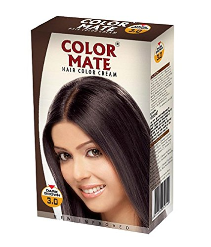 Color Mate New Improved Hair color (Pack of 2) with Ayur Product in Combo (3.0-Dark Brown) (2.0- Natural Black) by Colormate