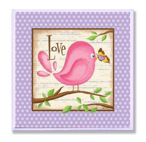 The Kids Room by Stupell Love Pink Bird and Butterfly Square Wall Plaque