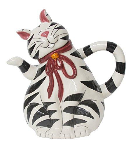 Blue Sky Clayworks Black and White Striped Tabby Cat Ceramic Teapot
