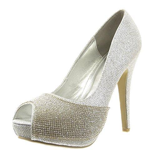 Sopily - Chaussure Mode Escarpin Cheville femmes strass diamant pailettes Talon haut aiguille 12 CM - Intérieur synthétique - Argent