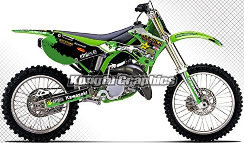 (Kungfu Graphics Rockstar Custom Decal Kit for Kawasaki KX125 KX250 1999 2000 2001 2002, Green)