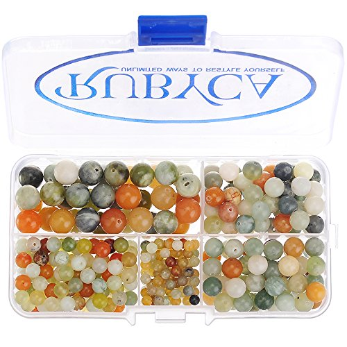 RUBYCA Natural Multicolor Jade Gemstone Round Loose Bead Organizer Box Jewelry Making, Mixed Sizes