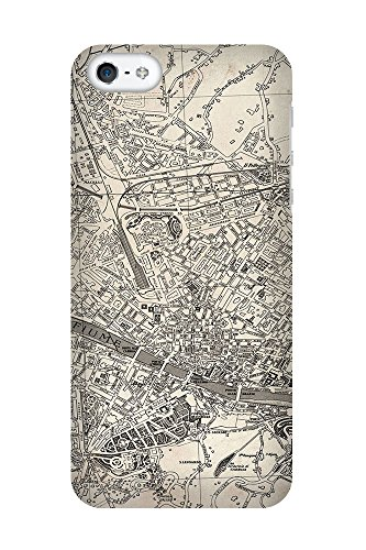iPhone 4/4S Coque photo - Retro Map Florence Grunge