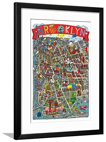 amazon com artedge brooklyn map by aaron meshon black wall art