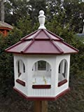 Large Gazebo Vinyl Bird Feeder Amish Homemade Handmade Handcrafted White & Red Review