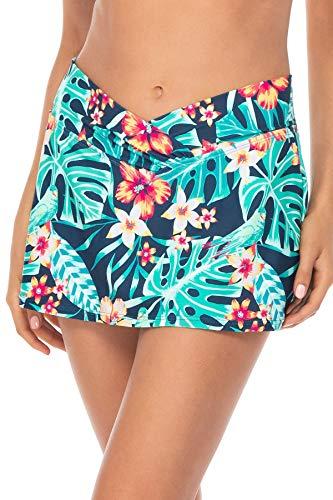 Sunsets Women's Summer Lovin Swim Skirt Bikini Bottom Swimsuit, Hibiscus Hideaway, 14