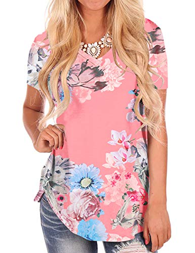 Women's Summer Floral Tops Short Sleeve Basic Comfy T-Shirt V Neck Tees Pink M