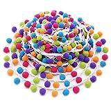 SOOKOO 5 Yards Handmade Rainbow Pom Pom Ball fringe Trim Ribbon Sewing Fabric DIY Craft
