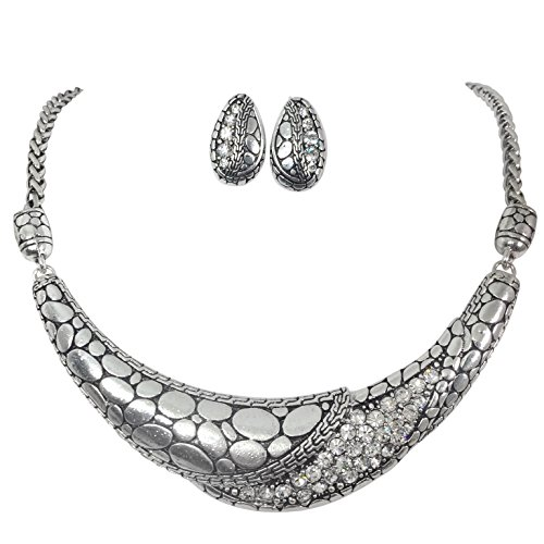 Silver Tone Scoop Boutique Style Bib Statement Necklace & Earring Set (Pebble pattern)