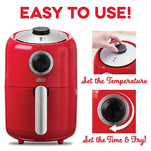 Dash Compact Air Fryer 1.2 L Electric Air Fryer Oven Cooker with Temperature Control, Non Stick Fry Basket, Recipe Guide + Auto Shut off Feature - Red by Dash (Image #4)