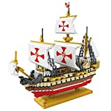 micro blocks - POCO DIVO Santa Maria Columbus Fleet Sailing Ship Model Micro Block Building Set (2660 pcs)