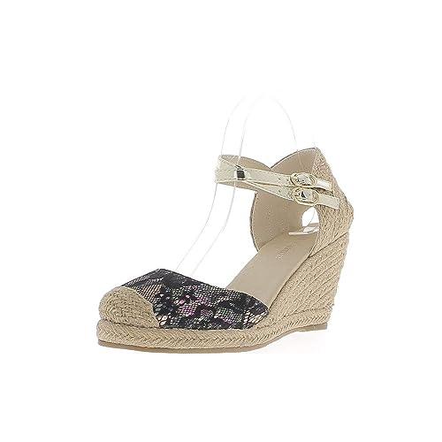 Alpargatas cuña de Oro y cordón de Mirada de Mujer Negro tacón 8 cm: Amazon.es: Zapatos y complementos