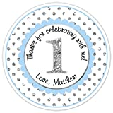 36 Custom 1st Birthday Labels, 1st Birthday Stickers - Blue and Silver Polka Dots First Birthday, Personalized for you, First Birthday stickers, First Birthday Labels, First Birthday Favors