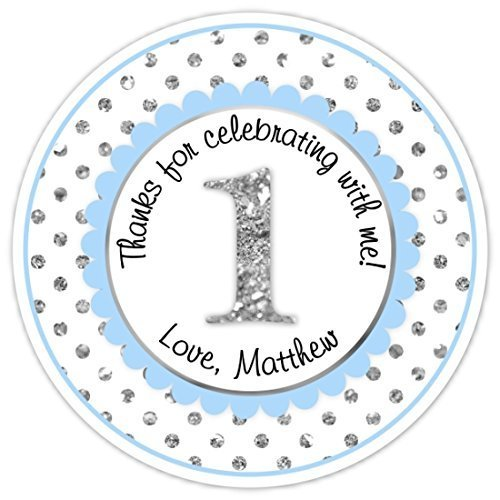 36 Custom 1st Birthday Labels, 1st Birthday Stickers - Blue and Silver Polka Dots First Birthday, Personalized for you, First Birthday stickers, First Birthday Labels, First Birthday Favors by Delight Design