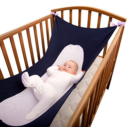 Newborn Baby Crib Hammock (2-9 Months) Breathable, Supportive Mesh   Womb-Like Infant Safety Bed   Adjustable Straps, Easy to Install   Child Safe Comfortable Bedding (Navy) - Hammock Rocker