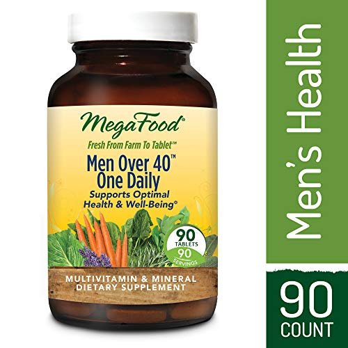 Multivitamins Bodybuilding - MegaFood - Men Over 40 One Daily, Multivitamin Support for Healthy Energy Levels, Prostate Function, Mood, and Bones with Zinc and B Vitamins, Vegetarian, Gluten-Free, Non-GMO, 90 Tablets (FFP)