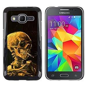 LECELL--Funda protectora / Cubierta / Piel For Samsung Galaxy Core Prime SM-G360 -- Smoke Black Deep Meaning Death Metal --