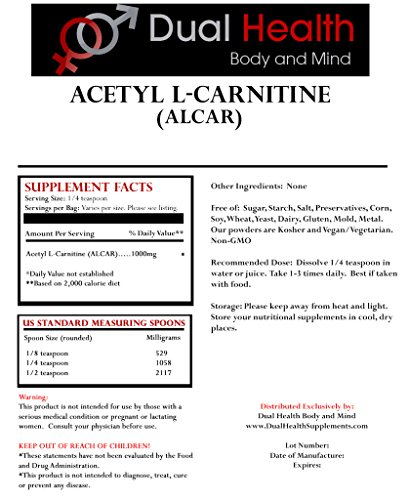 Pure Acetyl L Carnitine (ALCAR) Powder (1 lb) Bulk Supplements
