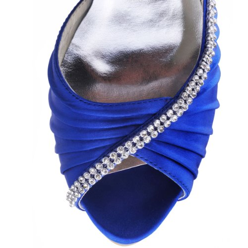 Shoes Rhinestones Heel Wedding Pumps Women Royal Platform Peep IPF EP11064 ElegantPark Blue Satin Toe Pleated High Bridal UqR446