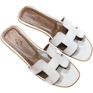 Women/'s Oran H Flat Sandals Leather Summer Beach Slippers goatskin