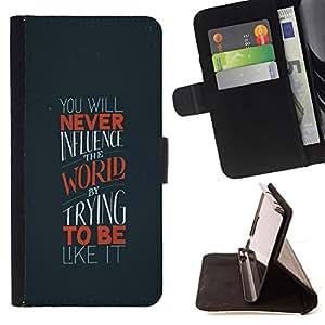 Jordan Colourful Shop - world uniqueness influence quote motivation For Apple Iphone 6 PLUS 5.5 - < Leather Case Absorci????n cubierta de la caja de alto impacto > -