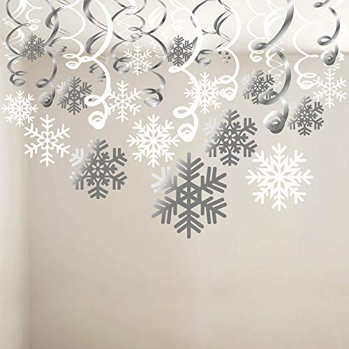 (Snowflake Swirls Decoration(30pcs), Konsait Merry Christmas Snowflake Hanging Swirls Garland Foil Ceiling ornaments for Xmas Winter Wonderland Holiday Party Decor Supplies,Already)