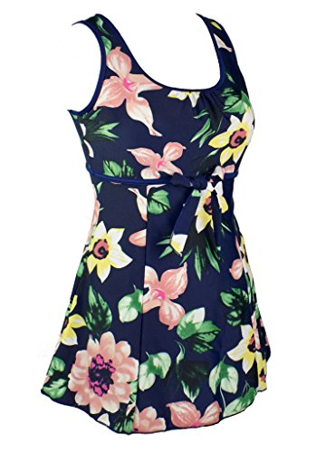 Women's Plus Size Swimdresses Swimsuits Floral One Piece Swimdress Swimwear Navy US16-18