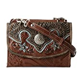 American West Full Grain Leather, Texas-Two-Step Small Crossbody Bag/Wallet