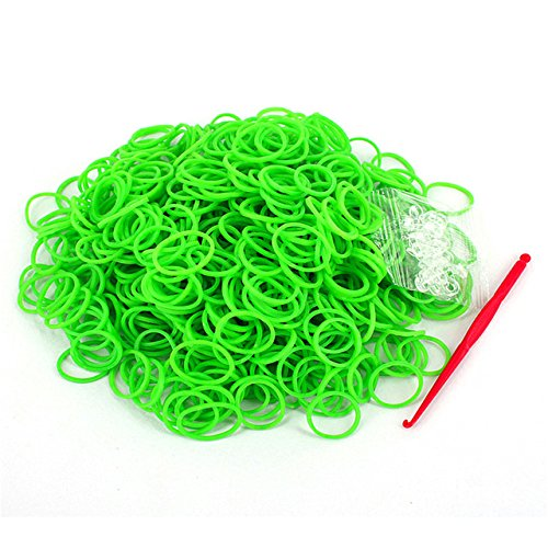 Braided Rubber Bands - Rubber Band Bracelet - 600pcs/Pack Rainbow Braided Rubber Bands Loom Refill Bracelet Rubber Anklet Kit Outdoor Multifunction Tools P5 - Green - Diy Bracelet ()