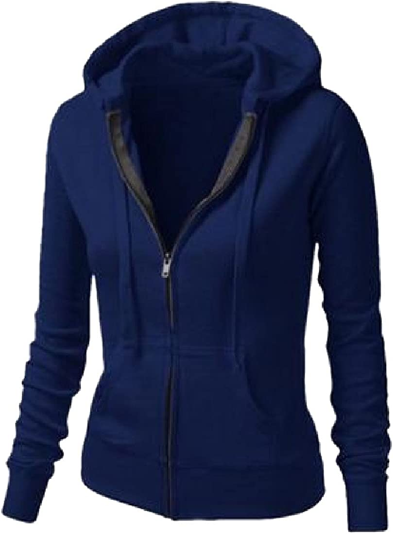 Sheng Xi Womens Long Sleeve Hooded Hoodies Zipper Closure Outerwear