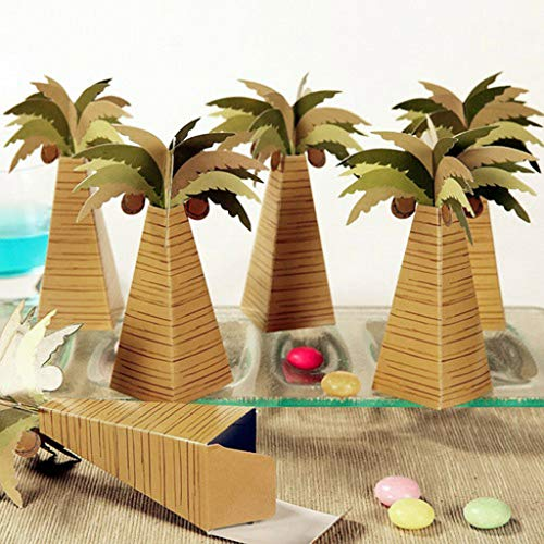 (Lot of 12pcs Coconut Tree Paper Candy Boxes Gift Boxes for Party Baby Shower)