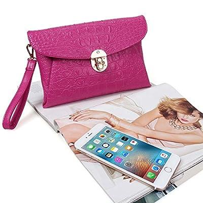 BMC Womens Large Faux Crocodile Skin PU Leather Envelope Flap Clutch Handbag