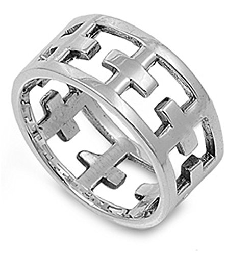 Large Cut Out Cross Ring (Sterling Silver Women's Eternity Christian Cutout Cross Ring (Sizes 6-13) (Ring Size 7))