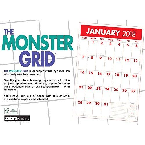 Monster Grid 2018 Wall Calendar