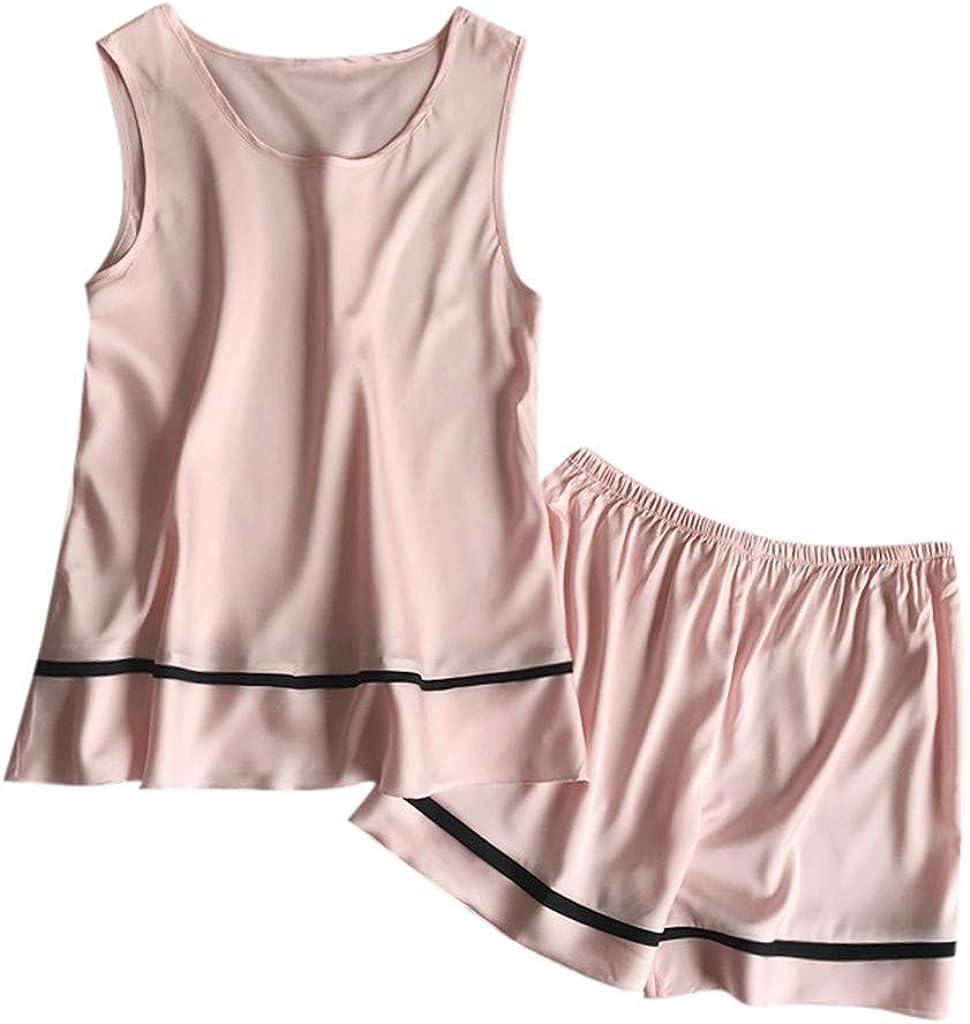 XUEJIN Women's Cute Sleeveless Print Tee and Shorts Sleepwear Tank Top Pajama Set