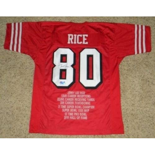 super popular 672f4 1c10f Signed Jerry Rice Jersey - #80 Red Stat Holo - Autographed ...
