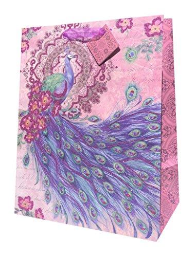 Pooch & Sweetheart Peacock Pink Glitter Embellished Vertical Gift Bag, Large, 87029 ()