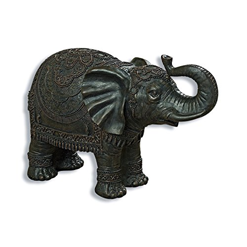 Whole House Worlds The Good Luck and Happiness Elephant, Indoor or Outdoor Garden Statue,Handmade, Bronze Finish, Cast Poly-resin, Weather Resistant, 17 3/4 inches Long, By
