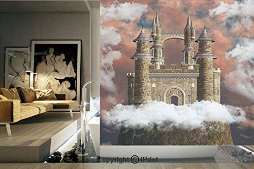 (Decorative Privacy Window Film/Fairy Magic Castle on the Hill Middle Age Tales Unusual Facts in Graphic Art/No-Glue Self Static Cling for Home Bedroom Bathroom Kitchen Office Decor White Red Grey)