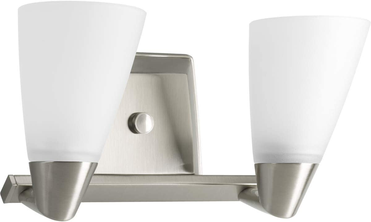 Progress Lighting P2806-09 Rizu Two Light Bath Vanity, Brushed Nickel Finish with White Glass
