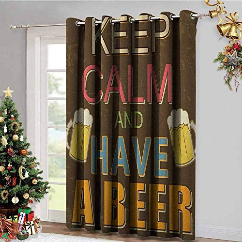 Keep Calm Pattern Custom Gromets Curtain Bedroom Drapes, Have a Beer Vintage Poster Design with Foamy Glasses Cheers Old Pubs and Bars Insulating Darkening Curtains, Multicolor, W96 x L96 ()