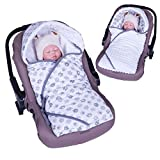 Sevira Kids - Covering enveloping by minky - REVERSIBLE - universelle and multi-purpose for car seat - Elephants Grey, 0-6 mois