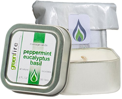 Natural Travel Candle - Greenfire All Natural Massage Oil Candle, Peppermint Eucalyptus Basil, Travel Size 2 Fluid Ounce