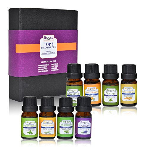 Basics Cool Body Set (iBoost Top 8 Essential Oil Blends, 100% Pure Aromatherapy, Therapeutic Grade, Sampler Gift Set, 8 bottles, 10 ml each)